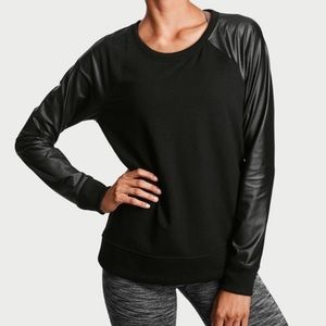 VS Sport Shine Pullover Faux Leather Sleeve Sz S
